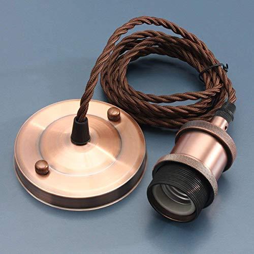KINGSO E27 Lampenfassung Kupfer Vintage Retro Antike Edison Pendelleuchte Hängelampe Halter Lampe Zubehör mit 2 Meter Kabel Rot Bronze