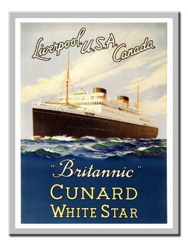 iPosters brittanic Cunard White Star Line Travel Print 1948Memo Board, Magnet Silber gerahmt-41x 31cms (ca. 40,6x 30,5cm) -