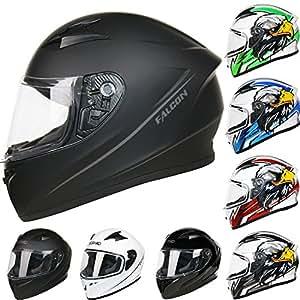 Leopard LEO-817 Full Face Motorcycle Motorbike Helmet ECER 22.05#1 Matt Black S (55-56cm)