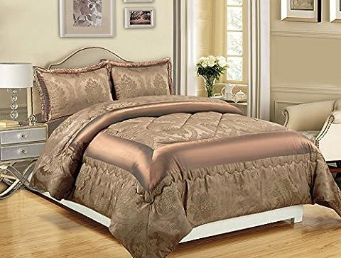 3-teiliges Luxus-Bettwäsche-Set, Jacquard, gesteppte Tagesdecke, Größe Doppelbett/King Size, Betty Caramal, Double (220x240 (3-teiliges Set Bett)