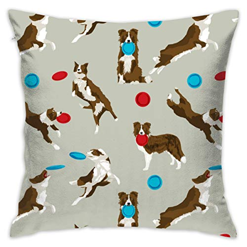 guolinadeou Beautifully Decorated Home Border Collie Disc Dog - Brown Border Collie, Brown Border Collies, Dog, Dogs, Disc Dog Throw Pillow Case 18X18 Inches -