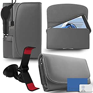 iTALKonline Alcatel IDOL 3 (5.5) Grey PREMIUM PU Leather horizontal Executive Side Pouch Case Cover Holster with Belt Loop Clip and Magnetic Closure and 1000 mAh Coiled In Car Charger LED Indicator and Overload Protection