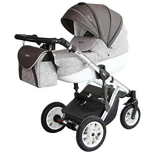 """Milu Kids Kombi-Kinderwagen """"Starlet Premium"""" 2 in 1 (mit Babywanne, Sportsitz, Luftreifen & Zubehör) (ST-13/w grau gemustert)"""