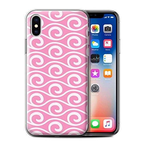 Stuff4 Gel TPU Hülle / Case für Apple iPhone X/10 / Rot Muster / Wellenmuster Kollektion Rosa