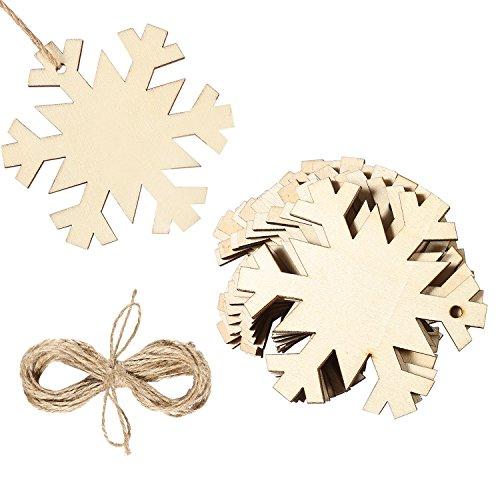Aneco 20pezzi in legno fiocco di neve albero di natale decorazioni da appendere con 20pezzi crafts ritorti