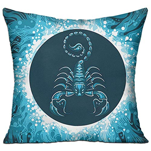 llow Cases,Scorpio in Water Circle,Pillow Covers Decorative 18X18 in Pillowcase Cushion Covers with ()