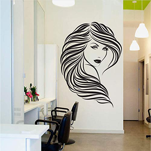 Jushuyin decalcomania da muro salone di bellezza   faccia da ragazza adesivo da parete in vinile home decor parrucchiere acconciatura wall sticker barbershop decorazione 3d