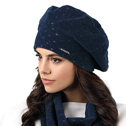 Kamea Carbonia Dame Baskenmütze Mütze Wintermütze Kopfbedeckung, Dunkelblau,Uni