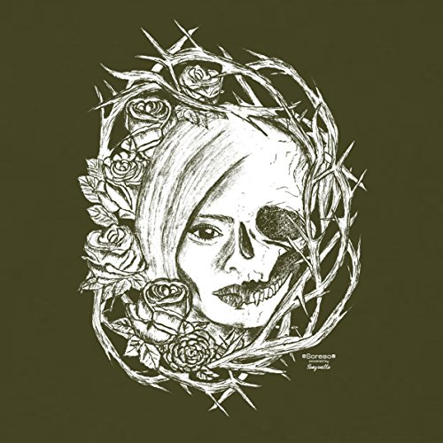 Damen T-Shirt : Fade Totenkopf : Skull Biker Freizeit Shirt für Frauen Mädchen : Halloween Outfit Farbe: khaki Khaki