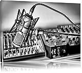 Monocrome, microphone avec des systèmes de musique, Taille: 60x40 sur toile, XXL énormes photos complètement encadrée avec civière, imprimé Art mural avec cadre moins cher que la peinture ou la peinture à l'huile, pas poster ou une affiche