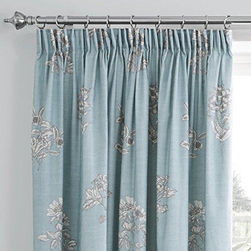 Mason Gray Fusion – Flora – Lined Curtains – 66×72 (168 x 183 cm), Duck Egg