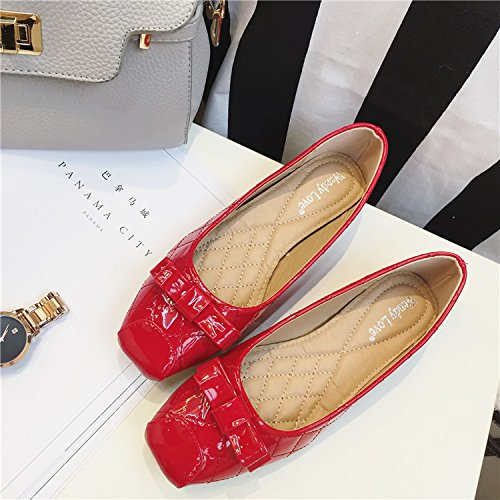 WYMBS Le cadeau le plus intime New Women's Shoe grand carré head light avec un fond plat avec des chaussures femmes Red