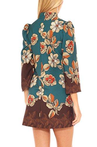 Vestito corto donna in jersey fantasia floreale Petrolio scuro
