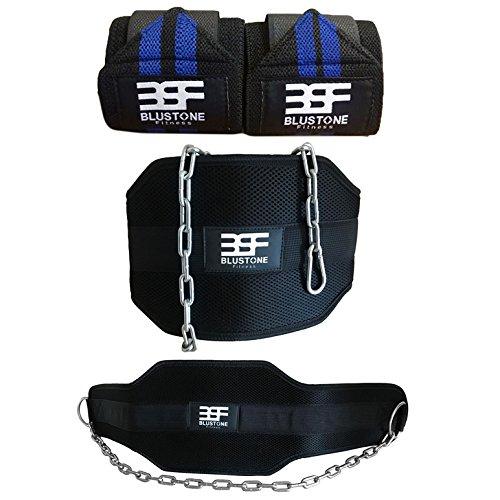 correas gratis con BluStone dipping Cinturón para pesas y fitness con larga cadena, de neopreno made, 17,7 cm, apoyo hecho de polipropileno con doble cosido – fuerza probada hasta 60 kg