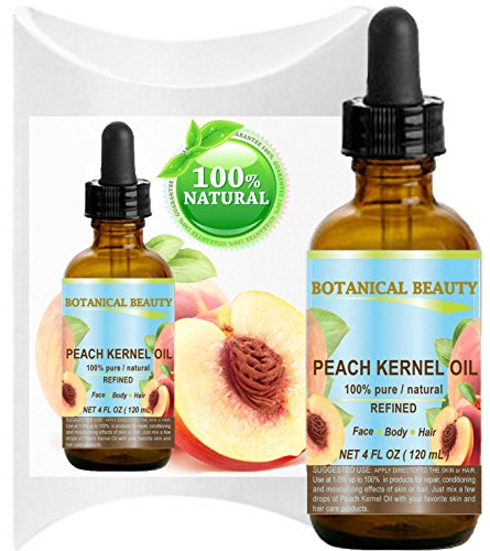 PEACH KERNEL OIL. 100% Pure / Natural / Undiluted / Refined Cold Pressed Carrier Oil for Skin, Hair, Massage and Nail Care. 4 Fl. oz-120 ml. by Botanical Beauty