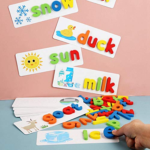 GoGlor Matching And Spelling Game Alphabet Flashcards Wooden Letter Blocks, 3D Large Alphabet Montessori English Learning Toys, 26 Colourful Blocks 28 Double Side Card 1 Storage Bag