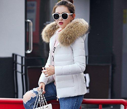 Sentao Donna Invernali Giacca corta Cappotto Caldo con Cappuccio Collo di Pelliccia Sintetico Giubbotto Trapuntata Bianco