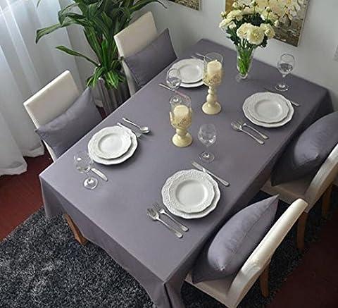 memorecool qualité supérieure Pure Color Style Européen Nappe Rectangulaire dining-table Chiffon Tissu pur coton élégant Gris 61x 61cm, Coton, gris, 55 inch by 98 inch