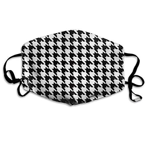 Anti-Allergie Grippe-Staub-Gesichtsmaske, Ohrschlaufe, halbe Gesichtsmaske für Damen, Herren, Radfahren, Skate, mit verstellbarem Gummiband, Schwarz und Weiß Hahnentritt, Zahnmaske -