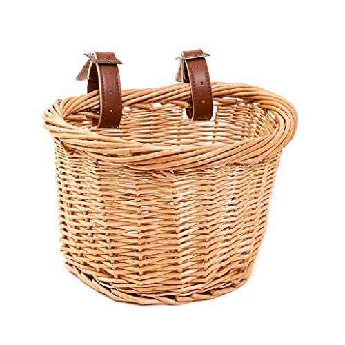 20 twenty go - Retro Wicker Bicycle Basket or Basket - Scooter or Bicycle Accessory - Handmade with Leather Straps - Compatible with Xiaomi Scooter