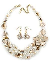 Florale Halskette & Tropfenohrringe mit antikweißer/ weißer Muschel und Glasperlen mit Goldbeschichtung