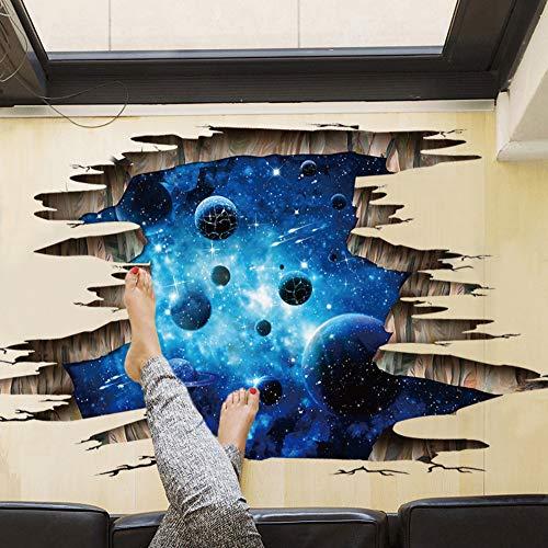 mznm Deckenleuchte Bodenbelag Series 3D Deep Blue Milchstraße Planet Wand Aufkleber Decke TV/Sofa Hintergrund Wand Aufkleber Home Decor
