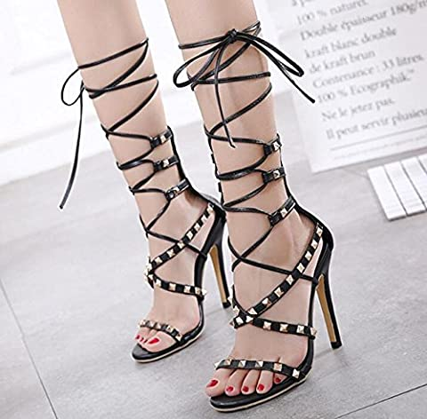 Beauqueen Style romain Stiletto High Heel Femmes Ankle Ties Cross Straps Sandales creuses Rivet Decoration Open Toe Clothes All-Matched Wedding Party Casual Slides antidérapants , black , 38