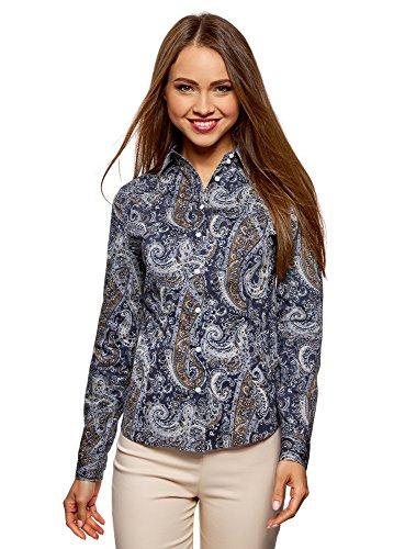 oodji Collection Damen Druckhemd mit Paisley-Muster, Blau, DE 42 / EU 44 / XL -