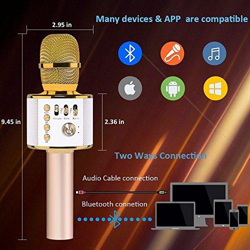 Bluetooth Karaoke Mikrofon, Hontrue tragbare drahtlose Mikrofon mit Lautsprecher für Erwachsene und Kinder für Sprach- und Gesangsaufnahmen,kompatibel mit Android /IOS, PC oder Alle Smartphone (Gold)