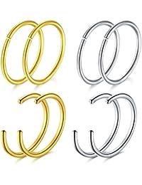 MODRSA 20G Piercing Nez Anneaux Lèvre Anneauxs Faux Piercing Nez Anneaux Septum Piercing Cartilage Oreille Acier Chirurgical 8 Pièces