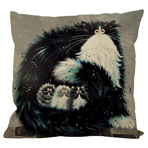 Preisvergleich Produktbild LETTER® Weinlese-nette Katze druckte Baumwollkissen-Kasten-Kissen-Abdeckungs-Hauptauto-Dekor (A)