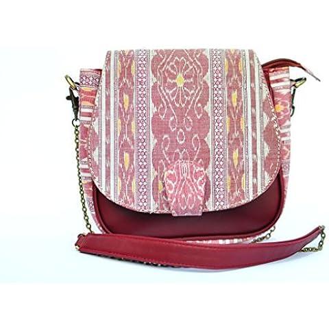 AT IKAT Indian De las mujeres Blanco & Granate Silng Bolso crossbody bolso Mensajero con durable Metal cadena