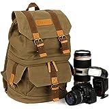 TARION Sac à dos / Sacoche de caméra en canevas pour reflex appareil photo numérique DSLR objectif flash etc. (Vert foncé)