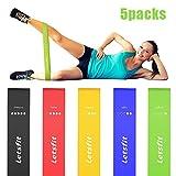 Letsfit Fitnessbänder 5er Set widerstandsbänder Trainingsbänder 5-Stärken Ideal für Fitnessübungen Wie Pilates, Yoga, Gymnastik, Crossfit, Fitnesskurse und Dehnungsübungen