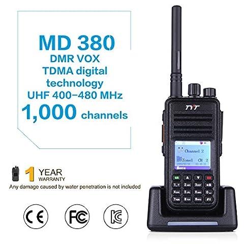 TYT MD-380 Walkie Talkie Portable Professionnel Radio Bidirectionnelle Numérique avec Ecran LCD Couleur UHF 400-480MHz 5W Jusqu'à 1000 Canaux