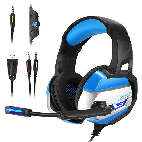 Preisvergleich Produktbild MallTEK Gaming Headset für PS4 PC Xbox One,  3, 5 mm,  Stereo-LED-Kopfhörer mit Mikrofon (omnidirektional,  mit Mikrofon,  für Online-Gaming-Headset,  für Computer,  Laptop,  Mac