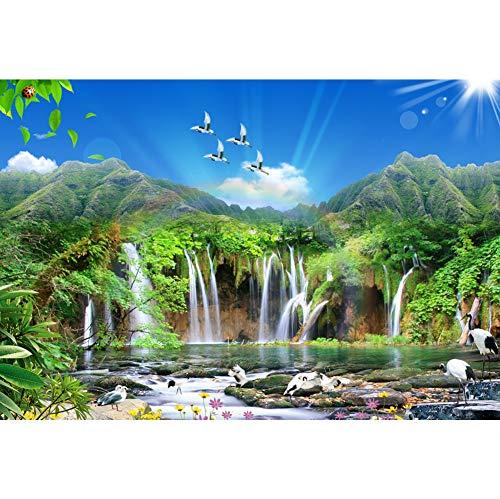 rühling Fotohintergrund Waldszene Berg Wasserfall See Kran Sonniger Himmel Fotoleinwand Hintergrund für Fotoshooting Fotostudio Requisiten Party Photo Booth ()