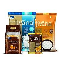 Jivana Jaggery, Classic Sugar, Iodised Sea Salt and Turmeric Powder 200gm (Combo of 4)