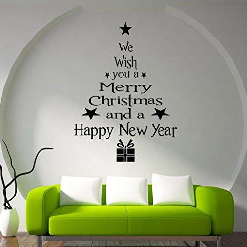 Sunnywill 1 Stk Weihnachten Baum Briefe Kleben Aufkleber Kunst Wandbild Haus Zimmer Dekor Wandaufkleber für Silvester (Schwarz)