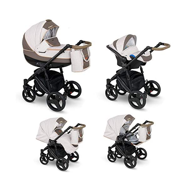 Lux4Kids Stroller Pram 2in1 3in1 Isofix Car seat 12 Colours Free Accessories NEO Blue Denim NE-2 4in1 car seat +Isofix Lux4Kids Lux4Kids Leo 3in1 or 2in1 pushchair. You have the choice whether you need a car seat (baby seat certified according to ECE R 44/04 or not). Of course the car is robust, safe and durable Certificate EN 1888:2004, you can also choose our Zoe with Isofix. The baby bath has not only ventilation windows for the summer but also a weather footmuff and a lockable rocker function. The push handle adapts to your size and not vice versa, the entire frame is made of a special aluminium alloy with a patented folding mechanism. 2