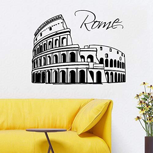 zqyjhkou Rom Stadt Wandtattoo Abnehmbare Skyline Silhouette Italien Wandaufkleber Wohnkultur Vinyl Wandkunst Modernes Design Stadt Wandbilder Ay396 57x45 cm