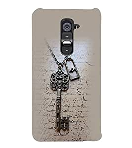 PrintDhaba Lock and Key D-2372 Back Case Cover for LG G2 (Multi-Coloured)