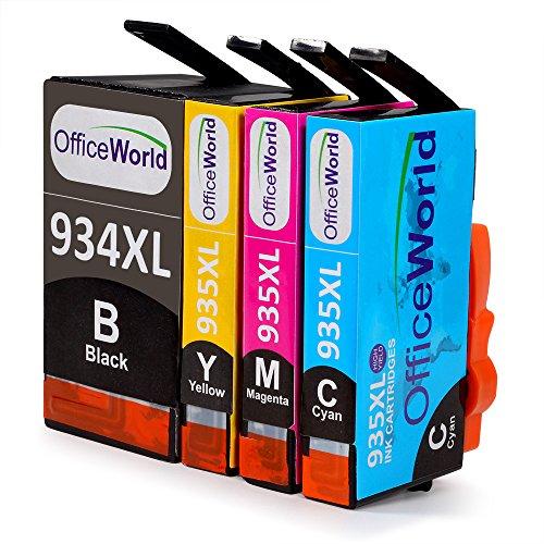 Cyan Ersatz-druckerpatrone (OfficeWorld Ersatz für HP 934 935 Druckerpatronen 934XL 935XL Hohe Kapazität Kompatibel für HP Officejet Pro 6830 6820 6230 6812 6815 6835 Drucker (1 Schwarz, 1 Cyan, 1 Magenta, 1 Gelb))
