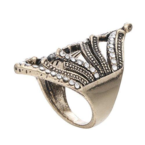 vanpowerunique Frauen Grazile Form Stil Ring mit Diamant Bronze