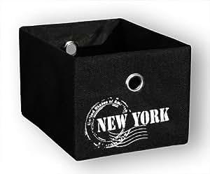 KMH®, Praktischer Schrankkorb (Farbe: schwarz / Aufdruck: New York) (#204130)