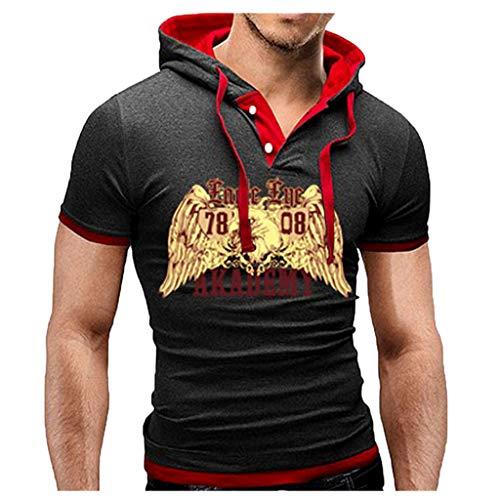 Sunnywill moda casual da uomo casual cuciture con cappuccio stampate sportivi strappati tuta surf lavoro t-shirt cotone maniche corte nero, blu, rosso, grigio scuro, grigio, azzurro, bianco, rosa