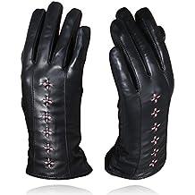 4b219a008b027 YISEVEN Guantes Mujer Pantalla Táctil Invierno de Cuero de Oveja de Real  Piel de corder Dedo