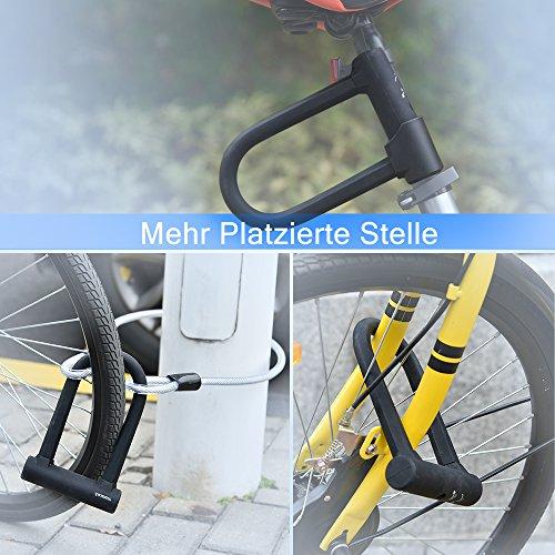 Fahrrad Bügelschloss, Amarey Fahrrad schloss Set U-Bügel-Fahrradschloss + Stahl-Schlaufenkabel + Halterung + 3 robuste Schlüssel aus Messing - 5