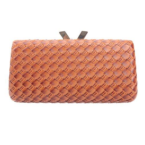 Bonjanvye Kiss Lock PU Leather Weave Handbags For Women Blue Brown