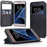 UKDANDANWEI Samsung Galaxy A3 2016 [Rr] Coque Étui - Magnétique View avec Fenêtre Etui Cuir Coque housse et Stand pour Samsung Galaxy A3 2016?Noir